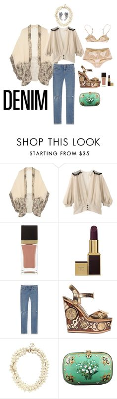 """DD"" by waytotheblue ❤ liked on Polyvore featuring Anna Sui, VOUS ETES, Tom Ford, Yves Saint Laurent, Dolce&Gabbana, J.Crew, Alexis Bittar, Niquesa, women's clothing and women"