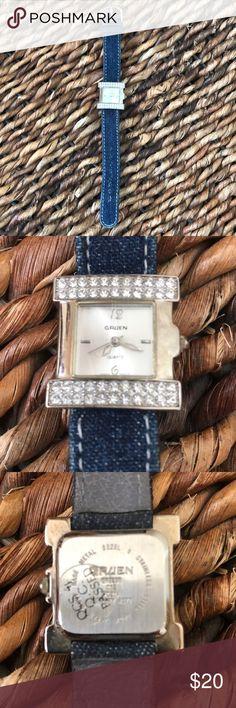 81efbacd7 Gruen Watch in Pretty denim and rhinestone combo Gruen Watch with silver  rhinestone face and denim
