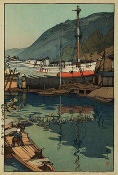 """""""beautiful wood-block prints by Hiroshi Yoshida 28""""  I like this - Love the composition and the colours. S"""