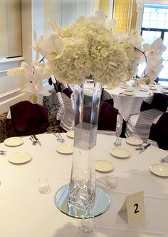 Lighthouse Centerpiece topped with Hydrangeas and Phalaenopsis Orchids