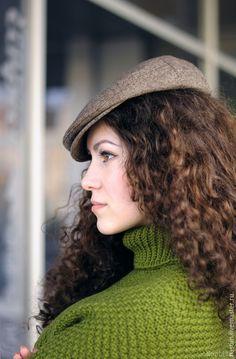 Купить Яркое зеленое вязаное женское пончо с воротником - яркое разноцветное пончо