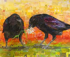 """COURTING CROWS Original Paper Collage Crow Painting 16"""" X 20"""" on Gallery wrapped canvas"""