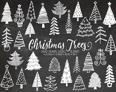 60% OFF SALE. Chalk Christmas Tree Clipart. Hand Drawn Chalkboard Christmas Doodles. Scrapbook Winter Clipart for Gift Tags, Greeting Cards.