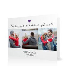 Hochzeitseinladung Für immer und ewig in Violett - Klappkarte flach #Hochzeit #Hochzeitskarten #Einladung #elegant #Foto #modern https://www.goldbek.de/hochzeit/hochzeitskarten/einladung/hochzeitseinladung-fuer-immer-und-ewig?color=violett&design=ddfdf&utm_campaign=autoproducts