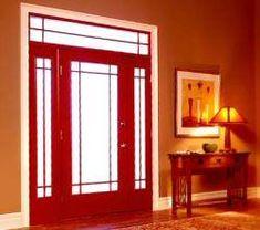 Craftsman prairie style door lose the sidelights for Peachtree fiberglass entry doors