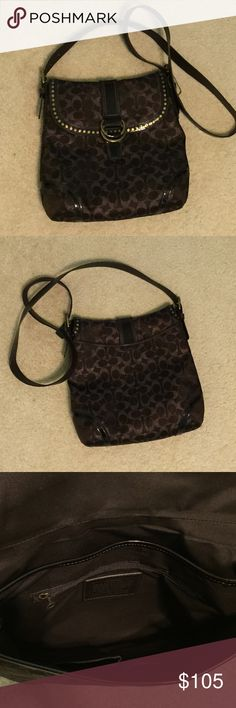 Coach Crossbody Purse Large Bronze Coach Crossbody. Two interior sections. Front has one zippered picked and two cellphone sized pockets. Back of the bag has a deep pocket also. Can hold everything you need with you!! Love this purse, but I only use a diaper bag right now with my newborn and toddler. Coach Bags Crossbody Bags