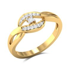 Isabella Diamond Studded Gold Ring