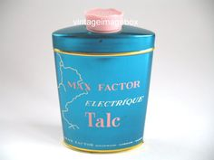 MAX FACTOR Electrique Talc, vintage perfumed talc, collectable tin bottle, by VintageImageBox, £9.95