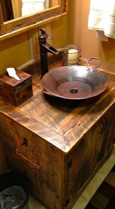 Guest Bathroom idea Rustic Furniture Portfolio - traditional - bathroom vanities and sink consoles - other metro - by Rory's Rustic Furniture Rustic Bathroom Designs, Rustic Bathroom Vanities, Rustic Bathrooms, Bathroom Ideas, Rustic Vanity, Wooden Vanity, Wood Mirror, Bathroom Cabinets, Man Bathroom