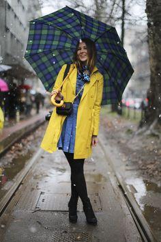 bright yellow raincoat and plaid umbrella