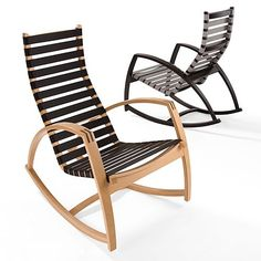 Atmos rocking chair :: Is it environmentally friendly furniture or is it art? Perhaps both. This custom-made rocking chair is made from surplus stock of car seat belts, and certified sustainable wood . Clean lines and simple design give this sustainable wood furniture a look that would complement nearly any green home decor.  Made by Atmos, the rocking chair is available in three wood finishes including oak, ebony, and mahogany. You can also choose the color of the seatbelt straps which are…