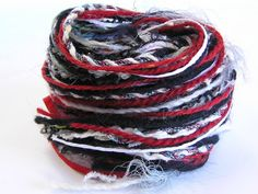Yarn Variety Hank in Black White and Red by Jukodesigns on Etsy, Textured Yarn, Different Textures, How To Better Yourself, Shades Of Green, Textile Art, Art Projects, Lime, Therapy, Textiles