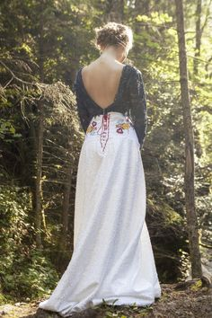 White sequins embroidered skirt by AtelierDeCoutureJK on Etsy