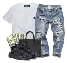 """""""Untitled #314"""" by goldenbarbiie ❤ liked on Polyvore featuring Ralph Lauren, Yves Saint Laurent and NIKE"""
