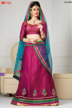 Women's Deep Pink Color Pretty A Line Lehenga Style With Crystals Work Dupatta. Message/call/WhatsApp at +91-9246261661 or Visit www.zinnga.com