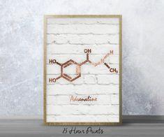 Instant Download Rose Gold Adrenaline Molecule - Gold Leaf - Art Print - Printable Art - Digital Prints - Glitter Art - Molecule Art
