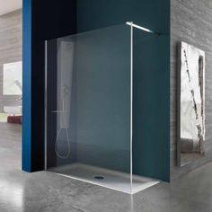Paroi de douche fixe en verre securit 8 mm et trait anticalcaire profil 45mm en aluminium - Paroi de douche bricorama ...