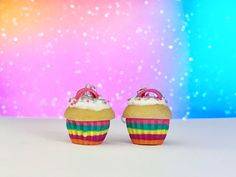 A personal favourite from my Etsy shop https://www.etsy.com/listing/511135257/rainbow-cupcake-earrings-rainbow