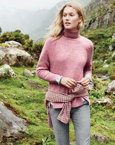 J.Crew women's turtleneck sweater with rib trim, Martie pant, Thomas Mason® for…