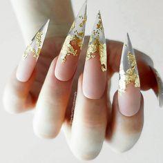 21 Stunning Gold Foil Nail Designs to Make Your Manicure Shine ★ Transparent Mani with Gold Foil Picture 3 ★ See more: http://glaminati.com/gold-foil/ #goldfoilnails #goldfoilnailart