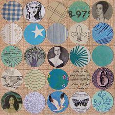 Blue Portrait by Jen Gibbs  original collage on paper  art, circles, grid, blue, faces, bird, turquoise, aqua, etsy