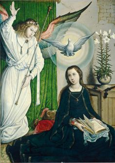 The Annunciation by Juan de Flandes, Hispano-Flemish painter active 1496 -1519. Oil on panel. Samuel H. Kress Collection, National Gallery of Art, Washington DC, USA.