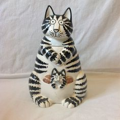 Lg Mama Cat Kliban Cookie Jar VINTAGE Hand-painted Cat Cookie Jar Black & White