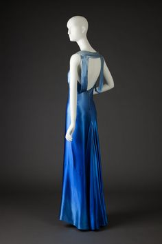 Rose Amado ca.1935  Bias cut blue ombre satin gown