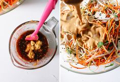 Pad Thai peanut sauce       ½ cup peanut butter or almond butter     ¼ cup lime juice     2 tablespoons tamari or other soy sauce     2 tablespoons honey     2 teaspoons grated fresh ginger     1 pinch red pepper flakes     About 3 tablespoons water, to thin