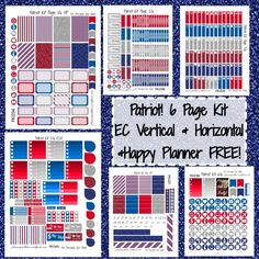 Patriot Kit! | Free Printable Planner Stickers from plannerproblem.wordpress.com. Available for the Erin Condren vertical, horizontal, and Happy Planner!