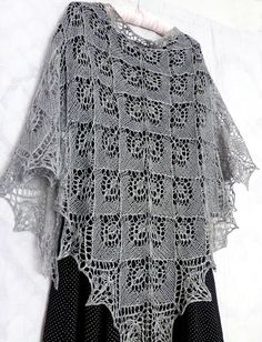 Gray Silk Lace Shawl. READY TO SHIP Free Shipping Knitted
