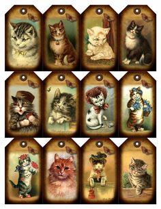 12 cat - vintage look - paper craft card tag scrapbook