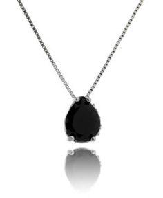 colar rodio negro com zirconia negra e cravação lateral semi joias modernas
