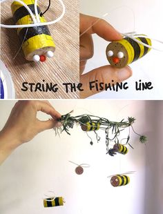 DIY cork bee mobile It's that time of year - you walk under a tree and the NOISE from the buzzing of the bees is amazing! We all love honey right? Well - let's enjoy and save the bees whilst…