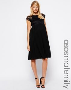 Image 1 ofASOS Maternity Exclusive Dress with Lace Top And Chiffon Skirt