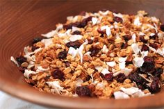 Granola is one of the easiest homemade cereals you can do yourself. This recipe uses dried coconut, coconut oil and butter for a buttery, coconut touch. To make it gluten free, use certified gluten free oats! Coconut Recipes, Raw Food Recipes, Great Recipes, Vegetarian Recipes, Cooking Recipes, Favorite Recipes, Healthy Recipes, Healthy Desserts, Healthy Cooking
