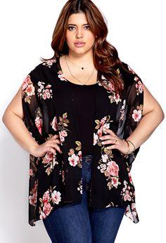 Cherry Blossom Chiffon Kimono | FOREVER21 PLUS Kimo-YES! #Floral #Plus #Kimono