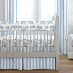 blue painted elephants crib bedding - Baby Boy Crib Bedding