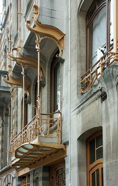 Victor Horta residence, Art Nouveau balcony from timber wood. Unesco, Brussels, Belgium