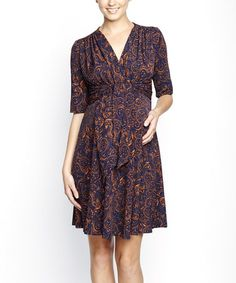 Take a look at this Navy & Rust Paisley Front Tie Maternity A-Line Dress by Maternal America on #zulily today! $80 !!