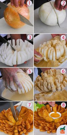 You can do this with small onions and their just a greAt. They also look nice on your plate. Finger Food Appetizers, Yummy Appetizers, Appetizer Recipes, Snack Recipes, Cooking Recipes, Snacks, Blooming Onion Sauce, Blooming Onion Recipes, Vegetable Dishes