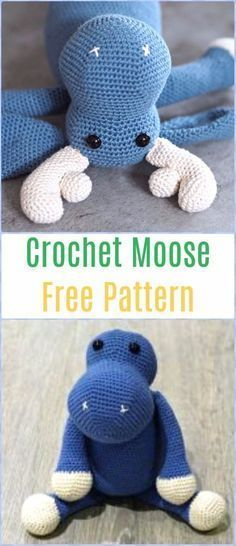 Crochet Moose Free Pattern - Amigurumi Crochet Christmas Softies Toys Free Patterns #CrochetChristmas #toy