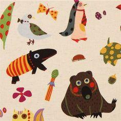 natural-coloured Kokka canvas animal fabric
