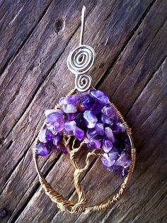 Amethyst wire wrapped tree of life pendant by WireInBloom on Etsy, $35.00