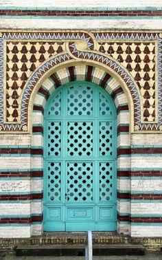 Turquoise door in Sanssouci - Potsdam, Brandenburg, Germany~ Grand Entrance, Entrance Doors, Doorway, Cool Doors, Unique Doors, Door Knockers, Door Knobs, Turquoise Door, When One Door Closes