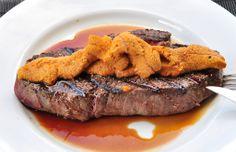Kobe Sirloin Steak, Uni, Veal Stock - quick lunch