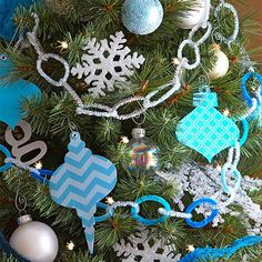 For the easiest ornament idea ever, simply cut ornament shapes from patterned paper and set eyelets in the top for hanging! http://www.bhg.com/christmas/ornaments/christmas-tree-ornaments/?socsrc=bhgpin112114paperornaments&page=7