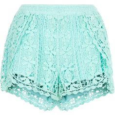 New Look Mint Green Crochet Wrap Shorts ($12) ❤ liked on Polyvore featuring shorts, bottoms, short, mint green, mint crochet shorts, crochet shorts, macrame shorts, mint green shorts and mint shorts