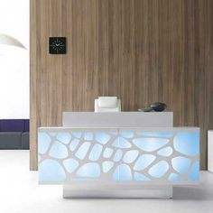 Have circles from logo as pattern on frosted glass Reception Desks - Contemporary and Modern Office Furniture