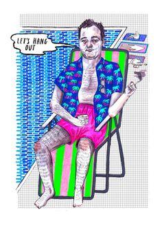 Thrill Murray, a Bill Murray colouring book via @pikaland